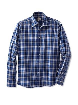 Mason's Men's Long Sleeve Woven Plaid Shirt (Blue)