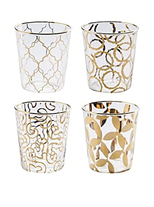 Rosanna Set of 4 Assorted Luxe Moderne 8-OZ. Double Old Fashioned Glasses