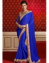 Blue Embroidered Sarees Bahubali