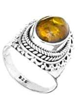 Exotic India Amber Oval Ring with Filigree - Sterling Silver Ring Size 8.5