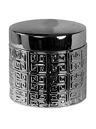Privilege Small Container With Lid, Metallic Silver