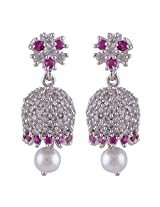 Silver Prince 9.1 Grm Pearl, White Cubic Zirconia, Pink Cubic Zirconia Bestseller 925 Silver Earrings