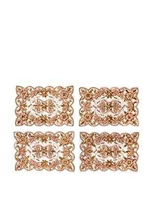 Saro Lifestyle Set of 4 Hand-Beaded Design Tray Cloths, Gold