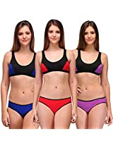 Urbaano Serena Sports Lingerie Set-Pack of Three (32, Red / Purple /  Blue)