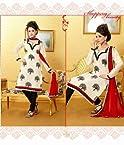 Multicolour Chanderi & indo cotton with Lace Work Unstitched Salwar Kameez