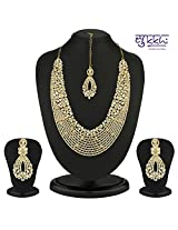 Sukkhi Dazzling Gold Plated Australian Diamond Necklace Set [Jewellery]