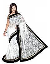 TrynGet's White fancy Net Saree