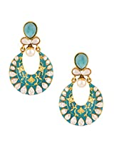 Firozi turquoise exquisite meenakari mughal ad stone india bollywood ethnic earringCHEA0222TU