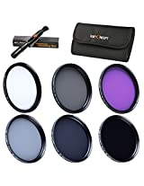 K&F Concept 37mm 6pcs UV CPL FLD ND2 ND4 ND8 Lens Filter Kit UV Protector Circular Polarizing Filter Neutral Density Filter Set for Panasonic LUMIX DMC-LX7 + Cleaning Pen + 6 Slot Filter Pouch