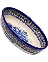 Polish Pottery Ceramika Boleslawiec,  1210/162, Oval Mirek Baker 2, 9 2/3 by 6 7/10 Inches - 5 Cups, Royal Blue Patterns with Blue Pansy Flower Motif