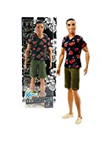 Mattel Year 2015 Barbie Fashionistas Series 12 Inch Doll Steven (Dgy68) In Black Red Floral Tee And Olive Green Denim Shorts