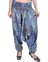 Exotic India Harem Satin Trousers with Printed Paisleys and Flowers - Color Cendre BlueGarment Size Free Size