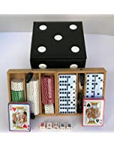 Chess, Dominoes, Poker Dice, Chips, & Cards Dice Box Game Cube