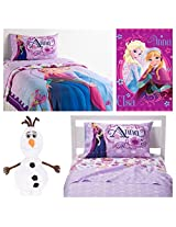 Disney Frozen Celebrate Love Complete 6 Piece Twin Bed in a Bag - Reversible Comforter, 3 Piece Shee