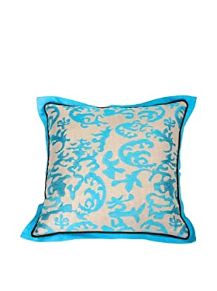 Filling Spaces Embroidered Abstract Ikat Pillow, Blue