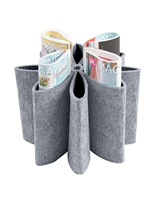 Present Time Flower Magazine Holder, Felted Grey