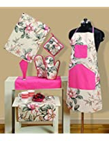 Handmade Cotton Chef's Apron Set with Pot Holder,Oven Mitts & Napkins -Perfect Home Kitchen Gift or Bridal Shower Gift,KS08-3537