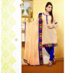 Chanderi Beige Embroidered Unstitched Churidar Suit - 20108