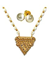 Surat Diamonds Gold-Plated Pendant Set For Women White - SN701