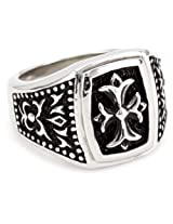 "Maksim ""MC by Maksim"" Stainless Steel Symmetrical Cross Men's Ring, Size 9"