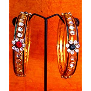 Gifts for girlfriend - red green stones ethnic pair of bangle s33