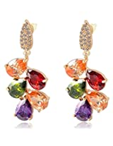 Karatcart Premium Multi-Color 18K Rose GoldPlated Swiss Cubic Zirconia Earrings For Women