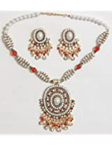 DollsofIndia Dark Saffron and White Bead and Stone Studded Necklace with Earrings - Stone, Bead and Metal - White