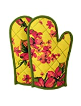 ShalinIndia Cotton Oven Mitts Printed Set of 2 Quilted Cooking Gloves,OG02-2410,Yellow,8 x12 Inch