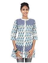 Rajrang Cotton Blue, White Screen Printed Tunic Top Size: S