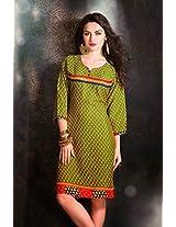 Cotton Jacquard Print Green Stitched Frock Style Kurti - 29241 - L