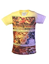 Tonyboy Boy's Cotton Spray Print Yellow Short Sleeved T-shirt