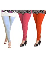 Lux Women Cotton Leggings -Sky Blue, Light Fuchsia, Mango. -Free Size - (Set Of Three) L 22 35 57