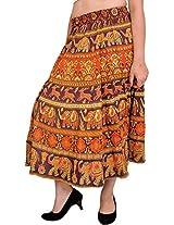 Exotic India Spectra-Yellow Sanganeri Midi Skirt with Printed E - Spectra yellow