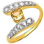 Silver Selection Citrine Brass Ring