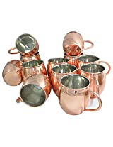 DakshCraft ® Cocktail Moscow Mule Mug Outside Copper, Inside Nickle Lining , Set of 12 - (Capacity 490 ml per mug )