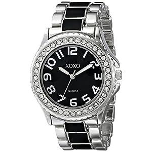 XOXO Women's XO5471 Silver-Tone with Black Epoxy Analog Bracelet Watch