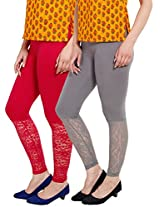 Softwear Womens Lace Leggings Pack of 2 ( Grey & Pink)