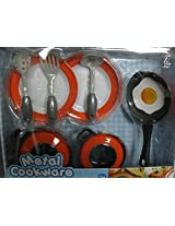 Play Go Realistic Tin Cookware 10 Piece Playset Orange Cookware