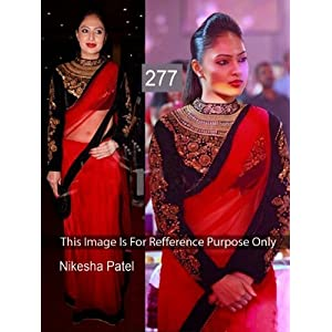 Nikesha Patel Net and Georgette Saree In Red and Black Colour
