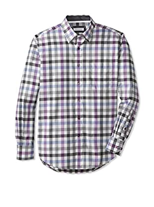 Alex Cannon Men's Long Sleeve Button Down Wide Gingham Check (Multi)
