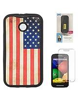 DMG Flexible Soft TPU Back Cover Case For Motorola Moto E XT1022 (US Flag) + 6600 mAh PowerBank + Matte Screen