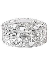 EKAANI Silver Plated ROUND JEWELLERY BOX (11 cm x 4 cm)