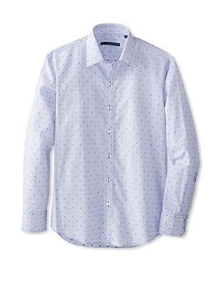 Zachary Prell Men's Alcala Dotted Long Sleeve Shirt (Blue)