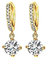 Celebrities Inspired Golden Round Crystal Halo Drop Earrings By Via Mazzini