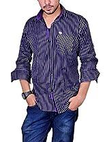 Nation Polo Club Men's Slim Fit Casual Shirt (NPC101240_1_Purple_Large)