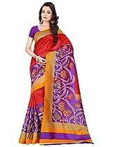Silk Bazar Women's Tassar Silk Saree with Blouse Piece (Purple & Red)
