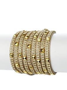 Presh 3-Strand Pyramid Multi-Wrap Bracelet, Gold Shimmer