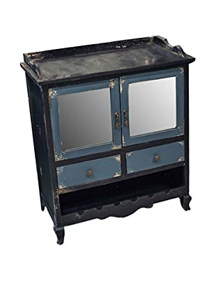 Winward Main Street Distressed Wood Cabinet, Black Blue