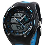 ESS Mens Blue Rubber Strap Analog Digital Dual Dial Luxury Sport Watch WS066