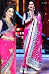 Madhuri Dixit In Dark Pink Saree On Jhalak Dikhhla Jaa Grand Finale Sets
